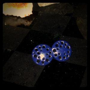 Vintage 80s-90s Blue circle Earrings